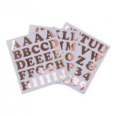 Stickers alphabet & chiffres rose gold 6 cm