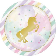 8 Assiettes Licorne Arc en Ciel