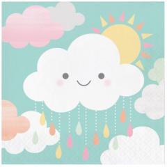 16 serviettes en papier nuage