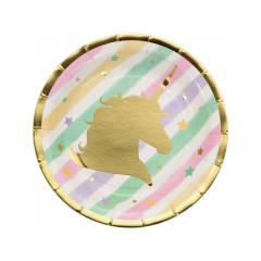 8 x Assiette Licorne Dessert Rainbow