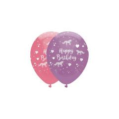 6 Ballons Licorne Rose Violet