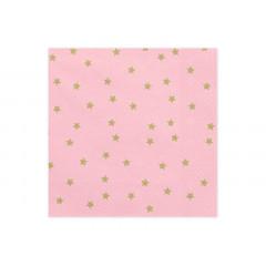 20 serviettes jetables roses étoiles dorées