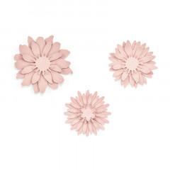 Décorations fleurs différentes rose poudré x 3