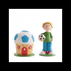 2 Figurines garçon foot et sa maison