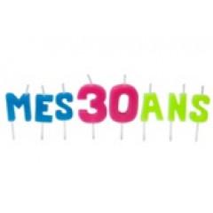 """Bougies lettres sur piques """"Mes 30 ans"""""""