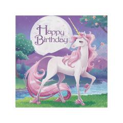 16 x Serviettes anniversaire Licorne Violet