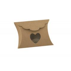 10 Boîtes à dragées kraft fenêtre coeur
