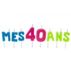 """Bougies lettres sur piques """"Mes 40 ans"""""""