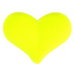 12 Perles fluo en forme de cœur - Jaune