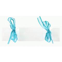 4 Boîtes à dragées bonbons avec rubans turquoises