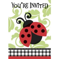 8 invitations jolie coccinelle