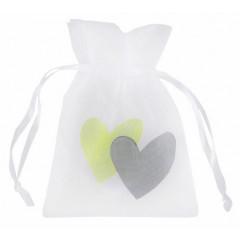 6 sachets Cœur vert 7,5 cm x 10 cm