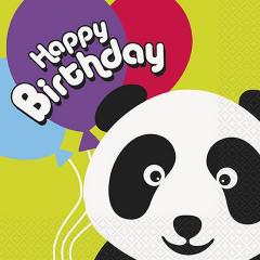 16 serviettes panda happy birthday