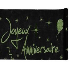 Chemin de table Joyeux anniversaire pailleté - vert - 1