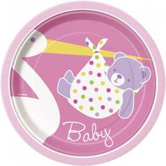 8 assiettes Baby-Shower cigogne rose - Ø 18 cm