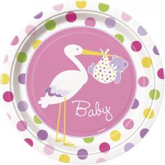 8 assiettes Baby-Shower cigogne rose - Ø 23 cm