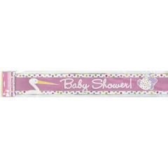 Bannière Baby-Shower cigogne rose