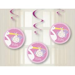 3 suspensions Baby-Shower cigogne rose