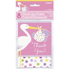 8 cartes de remerciement Baby Shower cigogne rose