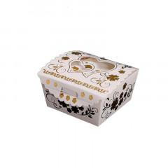 x12 boites à dragées en carton blanc fleurs et coeur Or