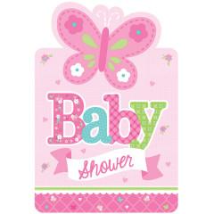 8 Invitations + enveloppes Baby Shower fille