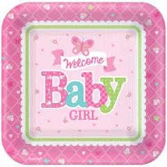 8 Assiettes carrées Baby Shower fille
