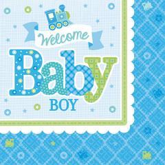 16 Serviette Baby Shower garçon 25 x 25
