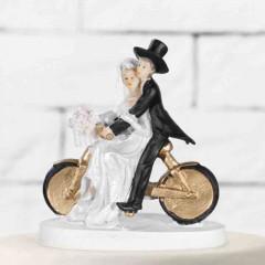 Figurine mariage couple à vélo