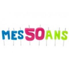 """Bougies lettres sur piques """"Mes 50 ans"""""""