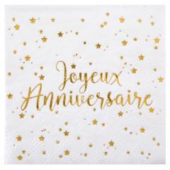 Serviettes Joyeux Anniversaire blanc et or papier 25 x 25 cm (x20)
