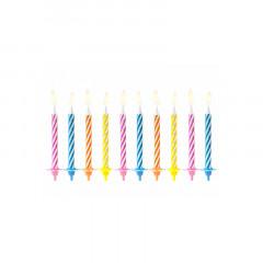 10 Bougies anniversaire multicolores