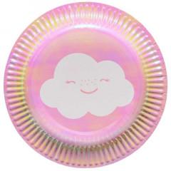 x8 Petites Assiettes Rose Irisdescente Nuage
