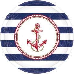 x8 Assiettes Ancre Marine