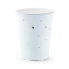 x6 Gobelet en Carton Bleu étoile argent