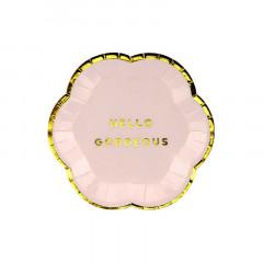 6x Assiette Carton rose Hello Gorgeous 13 cm