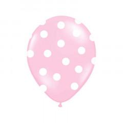 x6 Ballon de baudruche Rose avec pois blanc