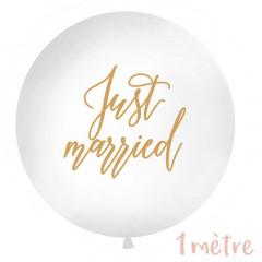 """Ballon géant baudruche """"Just Married"""" 1 mètre - Blanc"""
