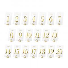 x20 Marque table mariage transparent écriture or de 1 à 20