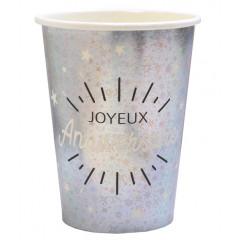 Gobelet Joyeux Anniversaire argent carton 27 cl (x10)