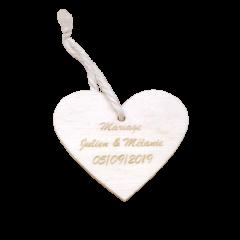 x1 Etiquette coeur en bois personnalisée