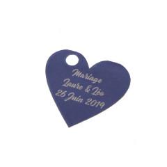 x1 Etiquette personnalisée coeur bleu marine