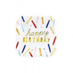 Assiettes anniversaire - blanche et multicolore