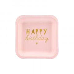 Assiette anniversaire rose
