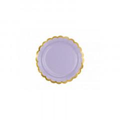 x 6 assiettes lilas et dorées