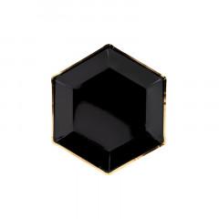 Assiettes hexagonales noir et or en carton