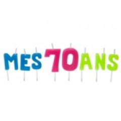 """Bougies lettres sur piques """"Mes 70 ans"""""""