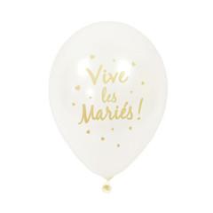 6x  Ballon de baudruche Vive les mariés or