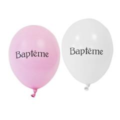 8x Ballon de baudruche baptême rose