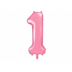 ballon chiffre 1 rose