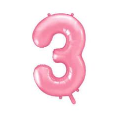 ballon chiffre 3 rose